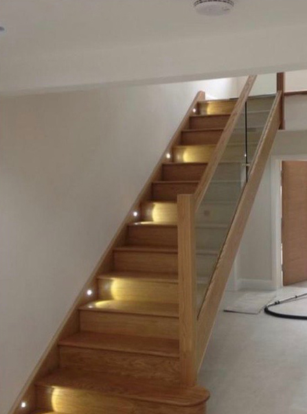 Wooden Staircase With Glass Banister